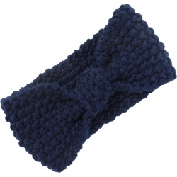 Headband Knitted Bow Navy