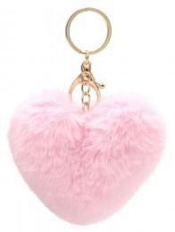 Sleutelhanger Fluffy Heart Pink