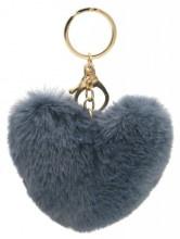 Sleutelhanger Fluffy Heart Grey