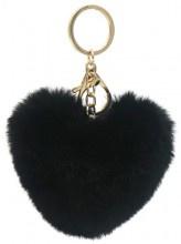 Sleutelhanger Fluffy Heart Black