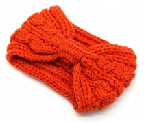 Knitted Headband Bow Orange