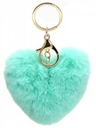Sleutelhanger Fluffy Heart Blue