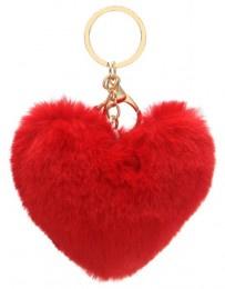 Sleutelhanger Fluffy Heart Red