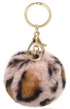 Sleutelhanger Fluffy Leopard Pink