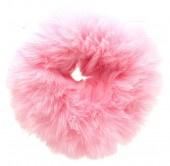 Fluffy scrunchie roze groot
