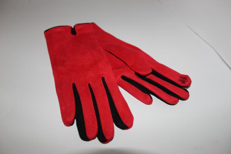 Handschoenen Suedine Rood-Zwart