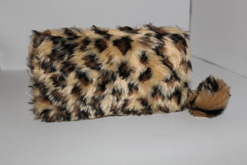 Soft Fake Fur Leopard Brown Portemonnee