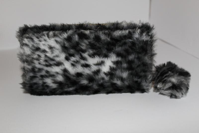 Soft Fake Fur Leopard Black/White Portemonnee
