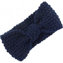 Headband Knitted Bow Navy