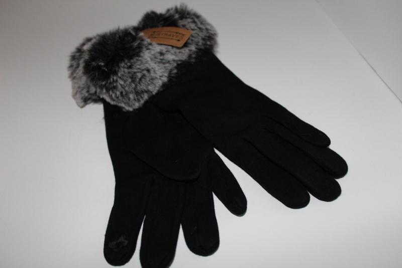 Fluffy Handschoenen Zwart Gemêleerd