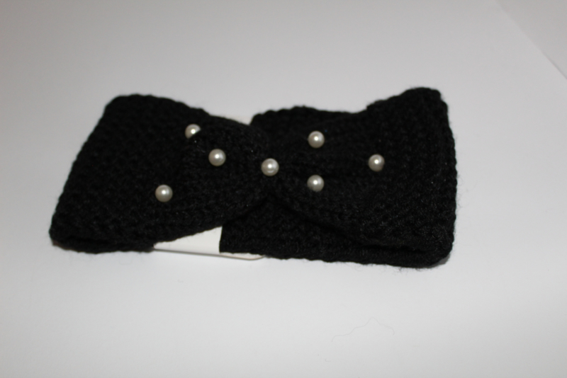 Knitted met parels Zwart