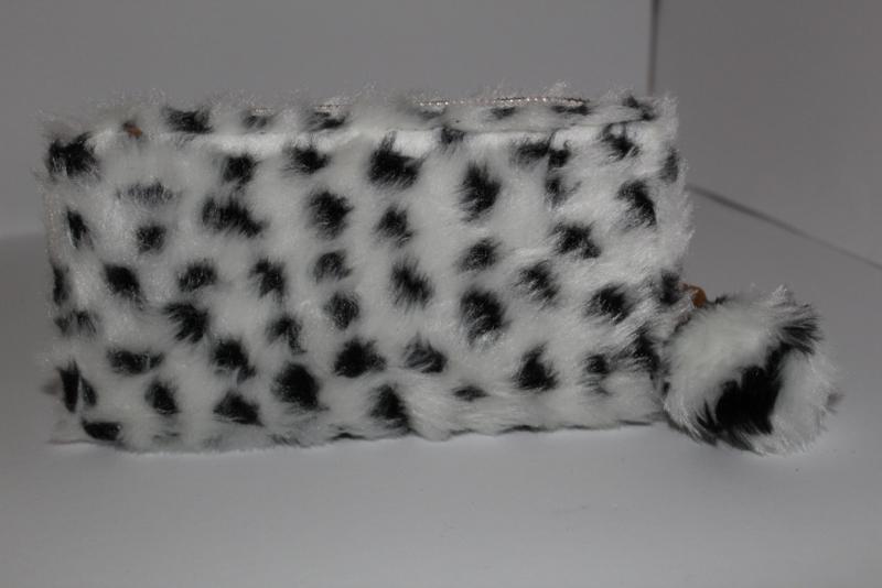 Soft Fake Fur Leopard White Portemonnee