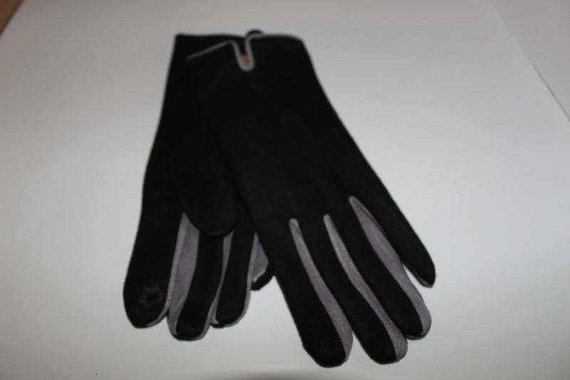 Handschoenen Suedine Zwart-Grijs