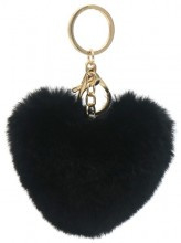 Sleutelhanger Fluffy Heart Black