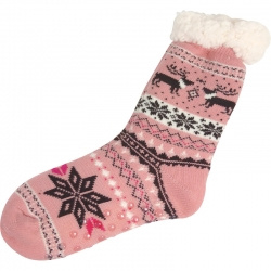 Kerstsokken Noors Sneeuwvlok Roze