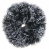Fluffy scrunchie grijs spot groot