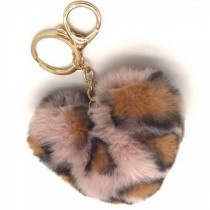 Sleutelhanger Fluffy Heart Leopard Pink