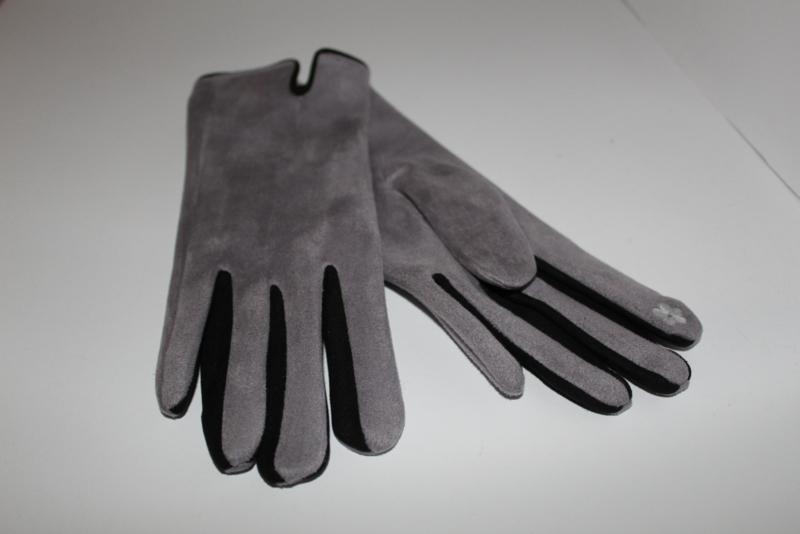 Handschoenen Suedine Grijs - Zwart