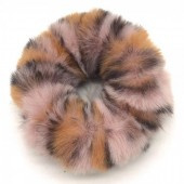 Fluffy scrunchie roze panter