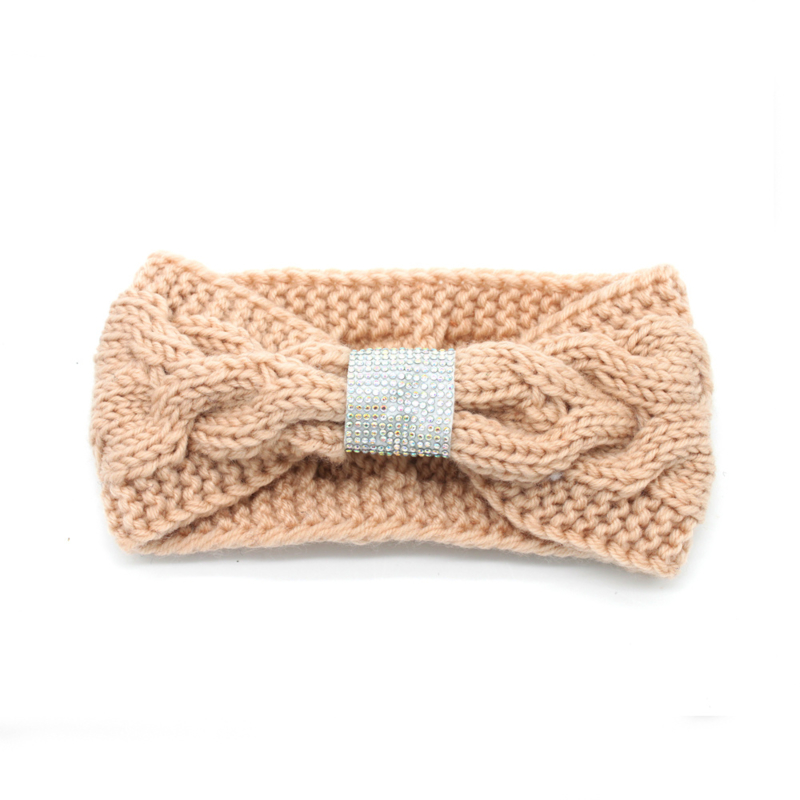 Knitted Headband Pink With Crystals