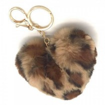 Sleutelhanger Fluffy Heart Leopard Brown