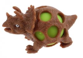 squeezy Dino - triceratops 10 cm bruin