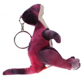sleutelhanger dino 11 cm roze/zwart