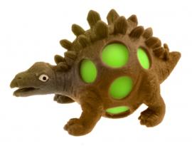 squeezy Dino - stegosaurus 10 cm bruin