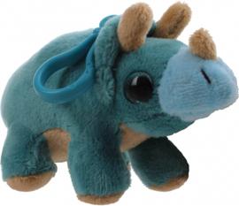 sleutelhanger Sparkle Eye Dino clip-on blauw 12cm