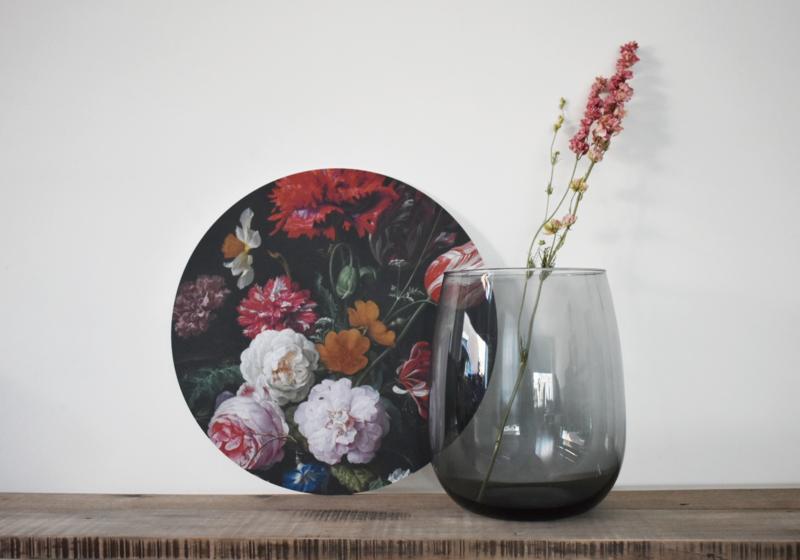 Stilleven met bloemen in glazen vaas Muurcirkel
