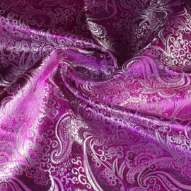 Jacquard paisley paars met zilver lurex
