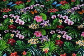Stenzo poplin 17182-20 vlinders en bloemen zwart