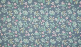 Qjutie tricot bedrukt bladeren blauw