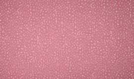 Tricot bedrukt dots oud roze