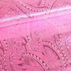 Jacquard fantasie bloem roze met wit lurex
