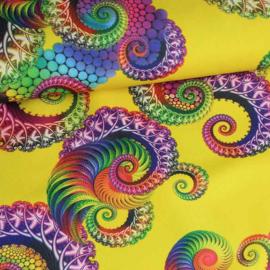 Terlenka digitaal bedrukt  tentakel geel