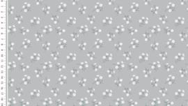 Poplin kleine bloemetjes middengrijs