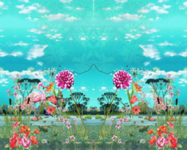 Stenzo panel 17221 (120x150cm) flamingo-bloemen-blauw-multi