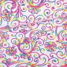 Terlenka pailletten wit multi-color