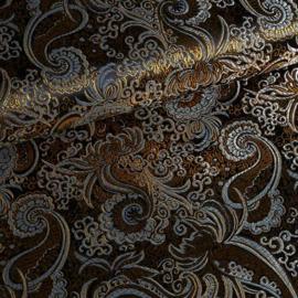 Jacquard paisley zwart/goud met zilver lurex