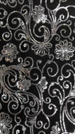 Terlenka pailletten zwart met zilver/grijs