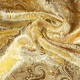 Jacquard paisley goud met zilver lurex
