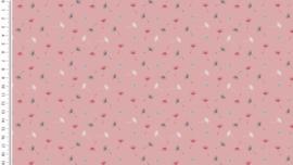 Poplin kleine paardenbloemetjes oud roze