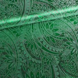 Jacquard fantasie bloem groen met zilver lurex