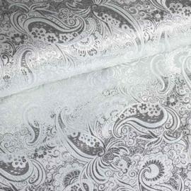Jacquard paisley wit met zilver lurex