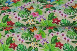 Stenzo poplin 17182-22 vlinders en bloemen beige/zand met linnen look