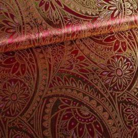 Jacquard fantasie bloem bordeaux rood met goud lurex