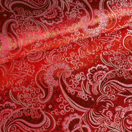 Jacquard paisley rood met zilver lurex