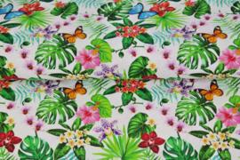 Stenzo poplin 17182-02 vlinders en bloemen wit