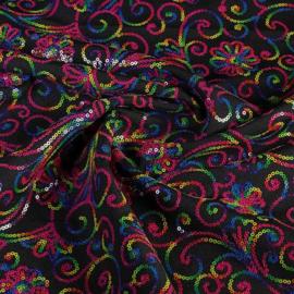 Terlenka pailletten zwart multi-color